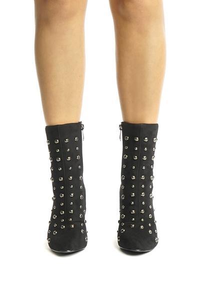 Black Studded Chunky Heel Boots