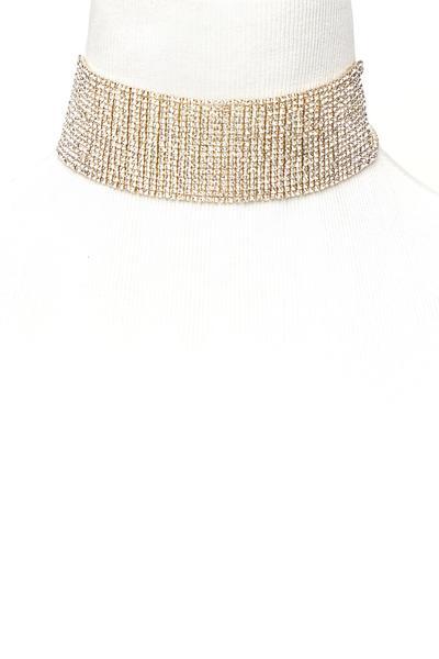 Rhinestone Glam Choker Necklace