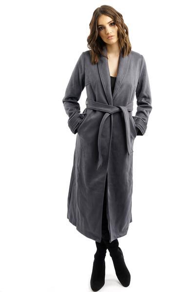 Long Charcoal Grey Suede Coat