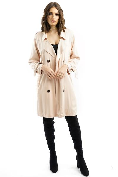 Nude Pink Flowy Trench