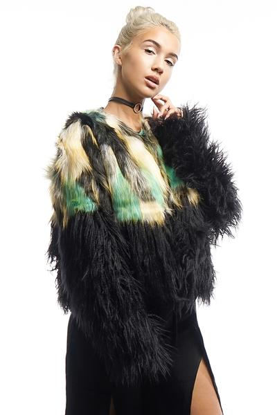 Multi-Colored Faux Fur Coat