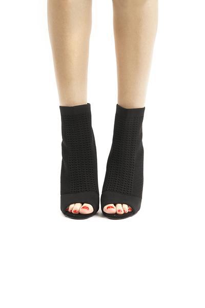 Black Peep Toe Sock Ankle Booties