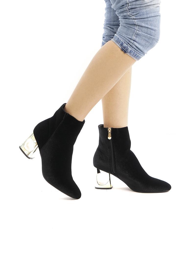 Black Velvet Gold Heel Booties