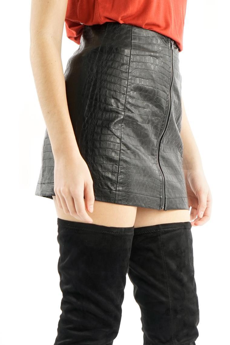 Snake-effect Leather Mini Skirt