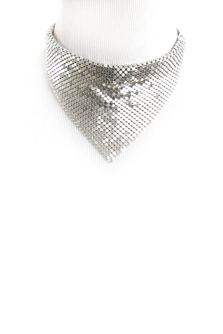 Silver Sequin Choker Bib Necklace