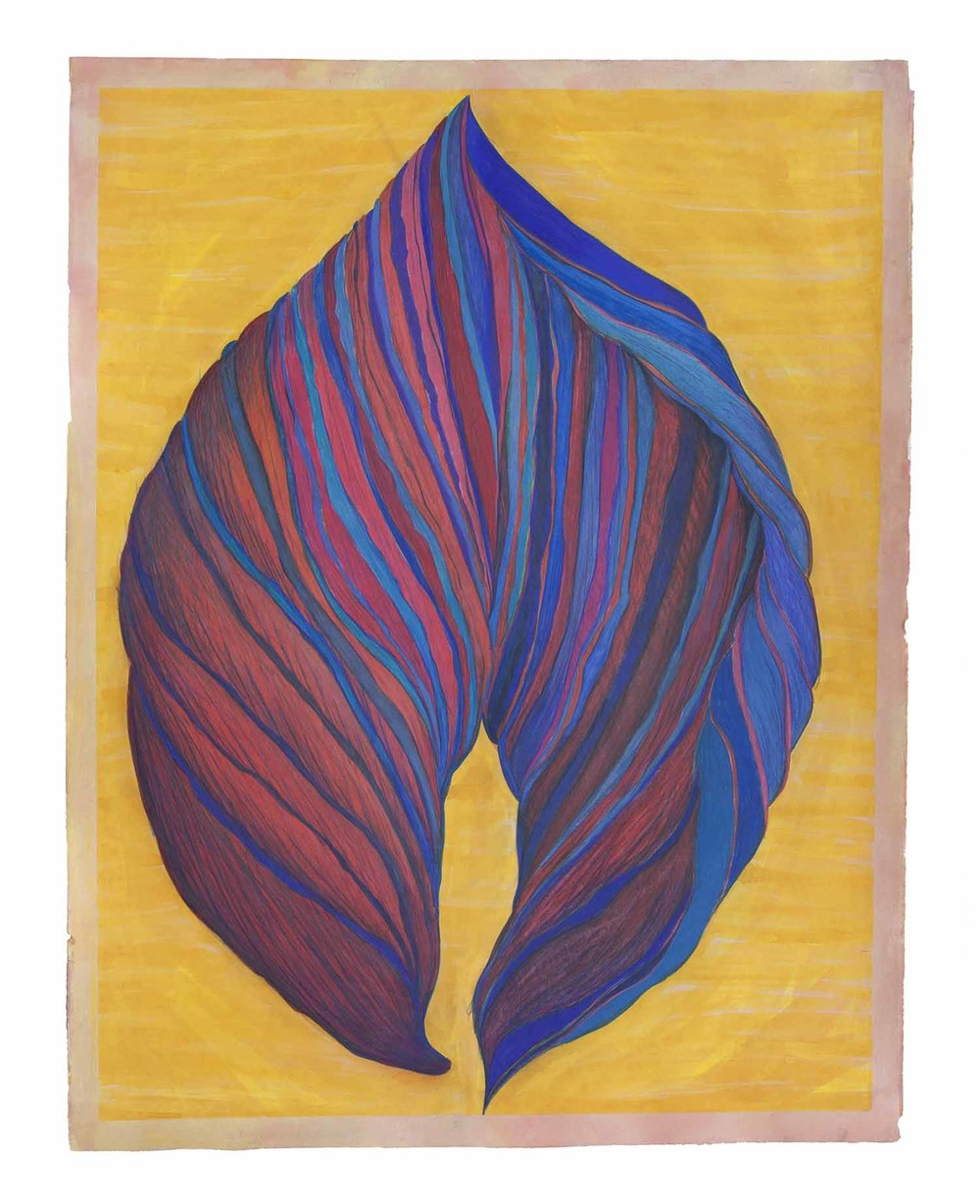 Leaf Form: Blue on Yellow