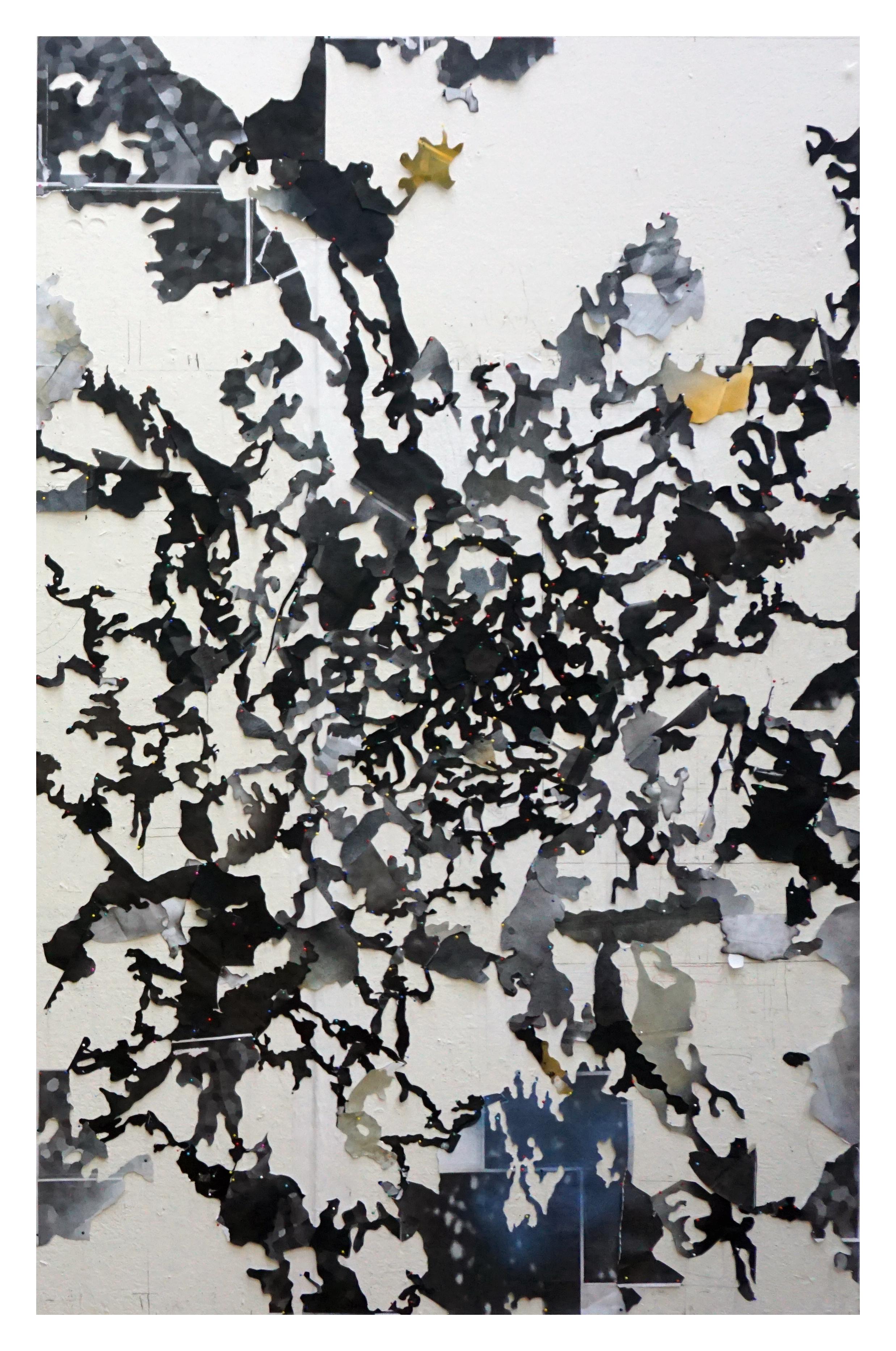 Stencil map 1  2016 paper, pins, paint 180 x 120 cm