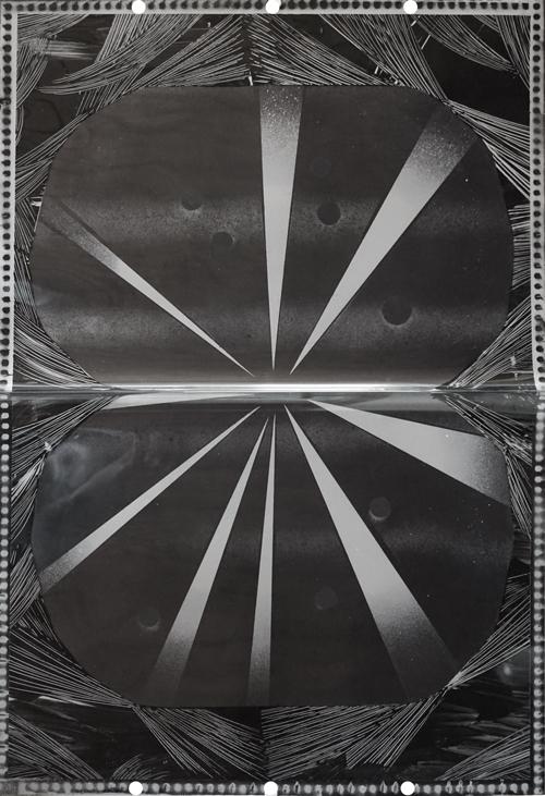 Untitled 2 2016 paint, mylar 63.5 x 42 cm