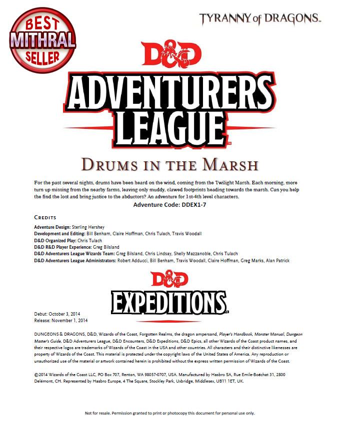 D&D Adventurers League Drums in the Marsh DDEX1-7