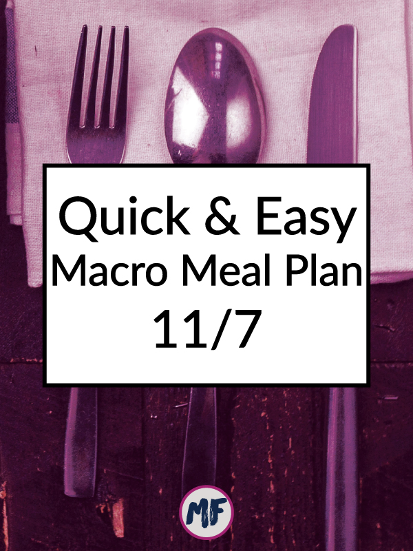 Quick and easy macro friendly meal plan for the week of November 7, 2016. Click to get the recipes and a FREE menu planning template to keep you organized and fed all week long!