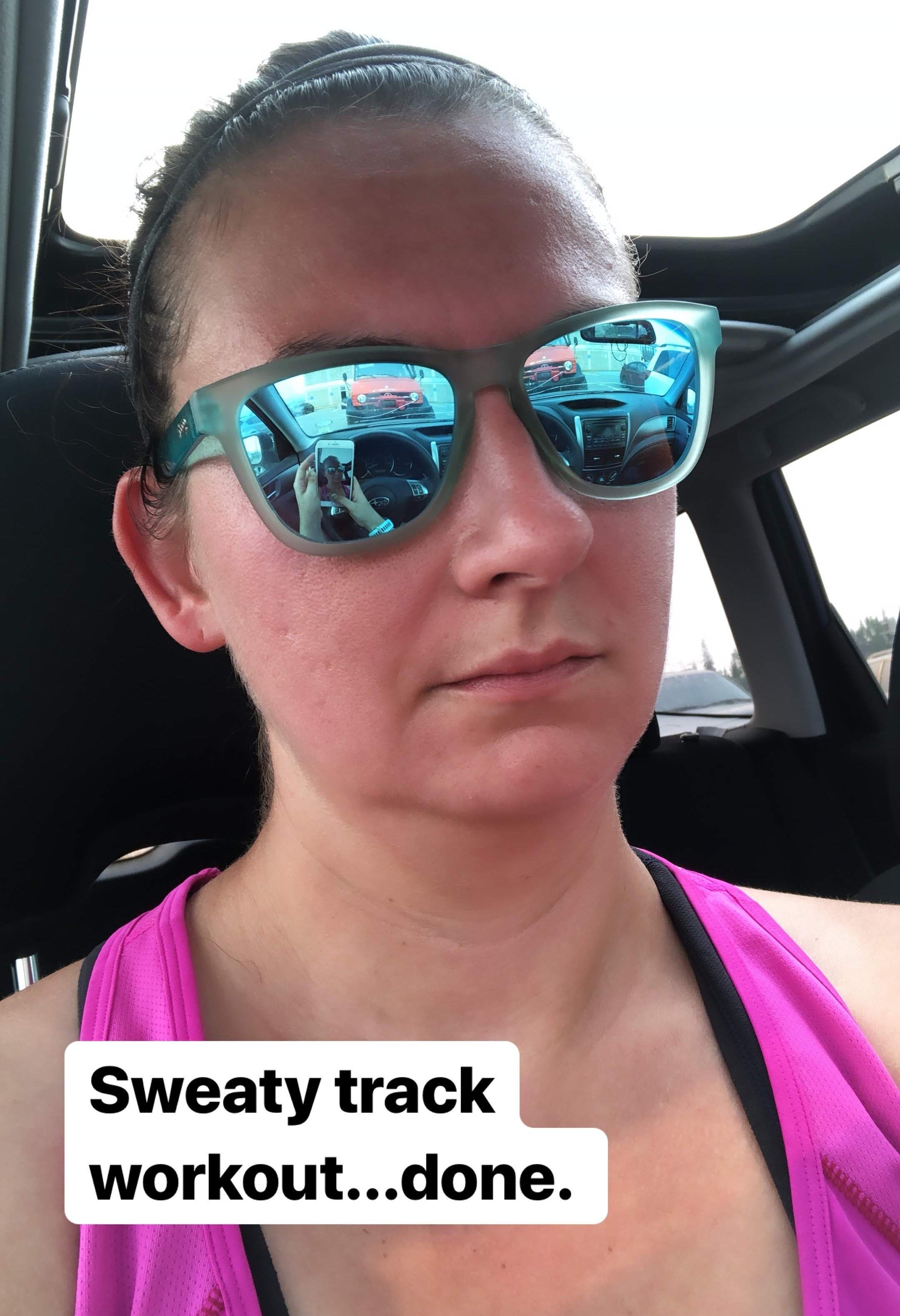 sweaty workout selfie