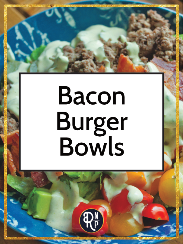 These bacon burger bowls have all the bits you love on your burger! Bacon, tomatoes, pickles, avocado, and a tasty dairy-free ranch dressing. Paleo, Whole30, keto friendly, and seriously delectable. #whole30 #keto #paleo