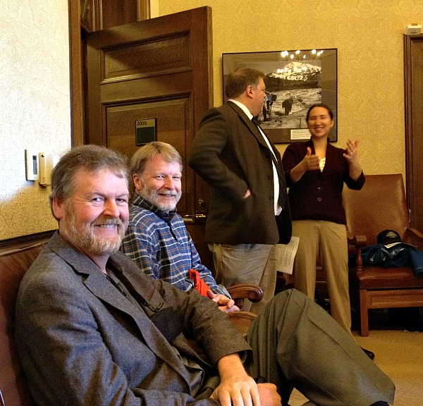 Mike Denny (Area Riparian Restoration Coordinator) and Ken Stinson (Latah SWCD), ready for the press conference.