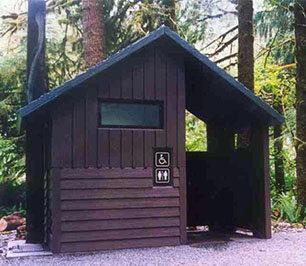 Cascadian vault toilet accessible restroom facility, CXT Concrete Buildings
