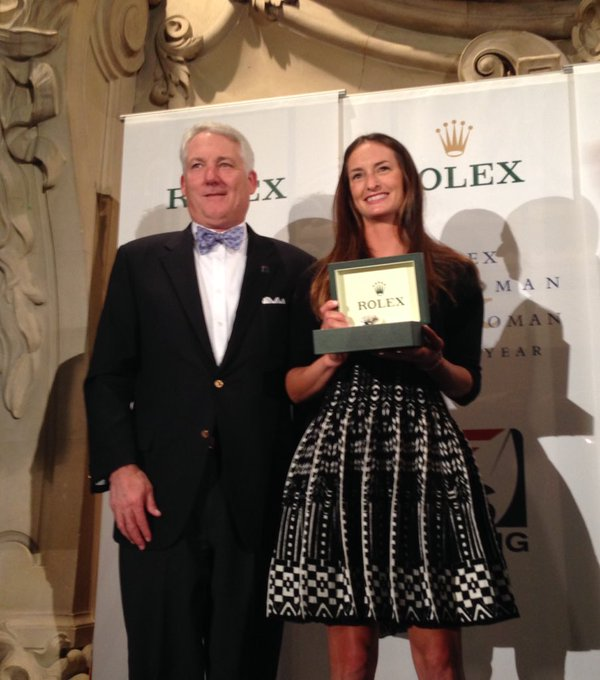 Annie Haeger receiving the US Sailing Rolex Yachtswoman of the Year Award.