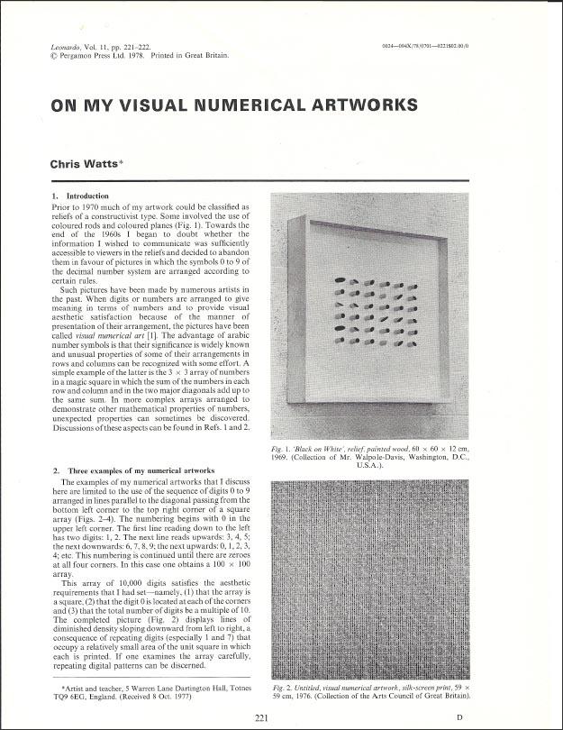 Leonardo, Vol 11. pp. 221-222 Pergamon Press Ltd. 1978  Click  HERE  for the PDF