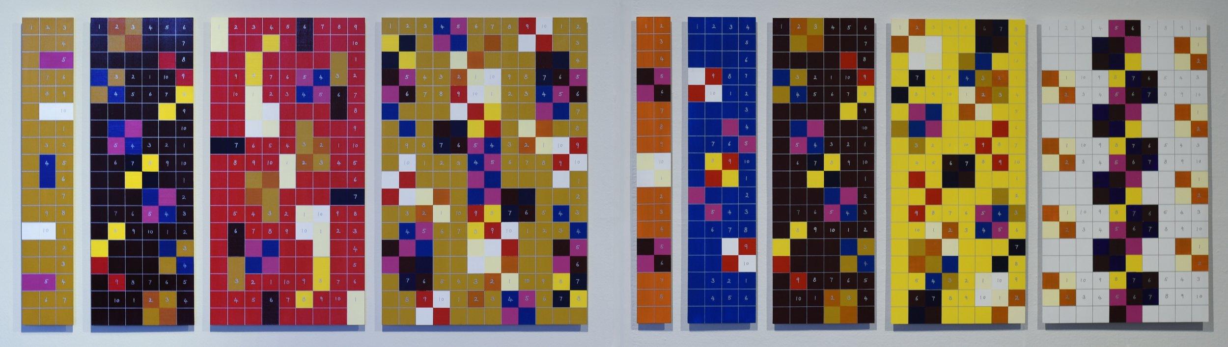 Horizontal interlocking load  A group of four panels  18 x 3, 18 x 6, 18 x 9, 18 x 12  Odd series  A group of five panels  18 x 2, 18 x 4, 18 x 6, 18 x 8, 18 x 10  Even series  2016  Acrylic on panel