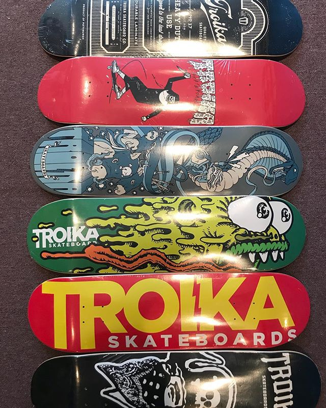 New @troikaskate decks in stock for $50 with grip #troikaskate #supportyourfriends #fuckwinter
