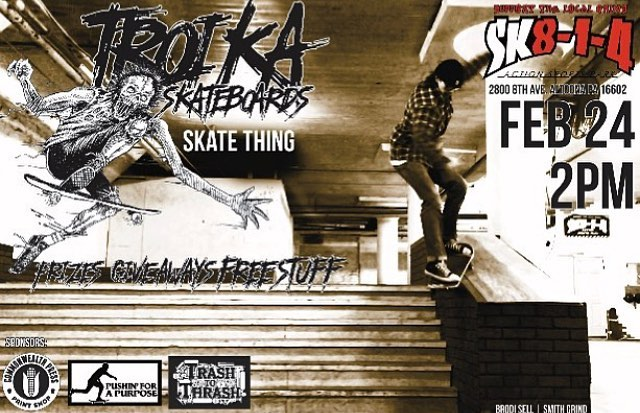 Check out @troikaskate Skate Thing today @sk814park with sponsors @pushinforapurpose @cwpress @trashtothrash #skatething