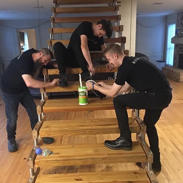 Not only are we the best at what we do, we look our best as well! Here we have Thadd and Ford helping Jude shine his shoes. 😂 #dressforsuccess #stairboss