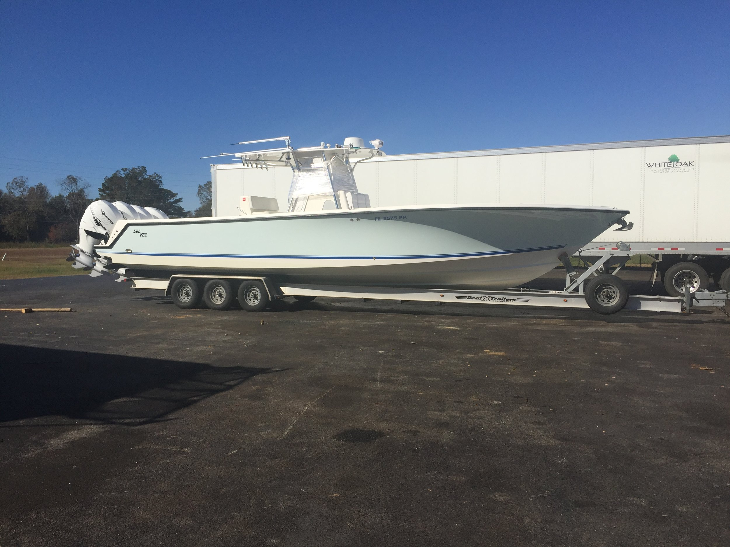 39 Sea Vee with quad Mercury 400 racing outboards