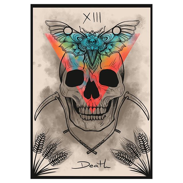 Tonight the full moon is in Scorpio and I decided this was a good opportunity to start developing my own tarot. Starting with the death card. Keeping with the intent of this full moon. I want to begin this new project with my death to insecurity and old limiting beliefs about being able to complete such a project.