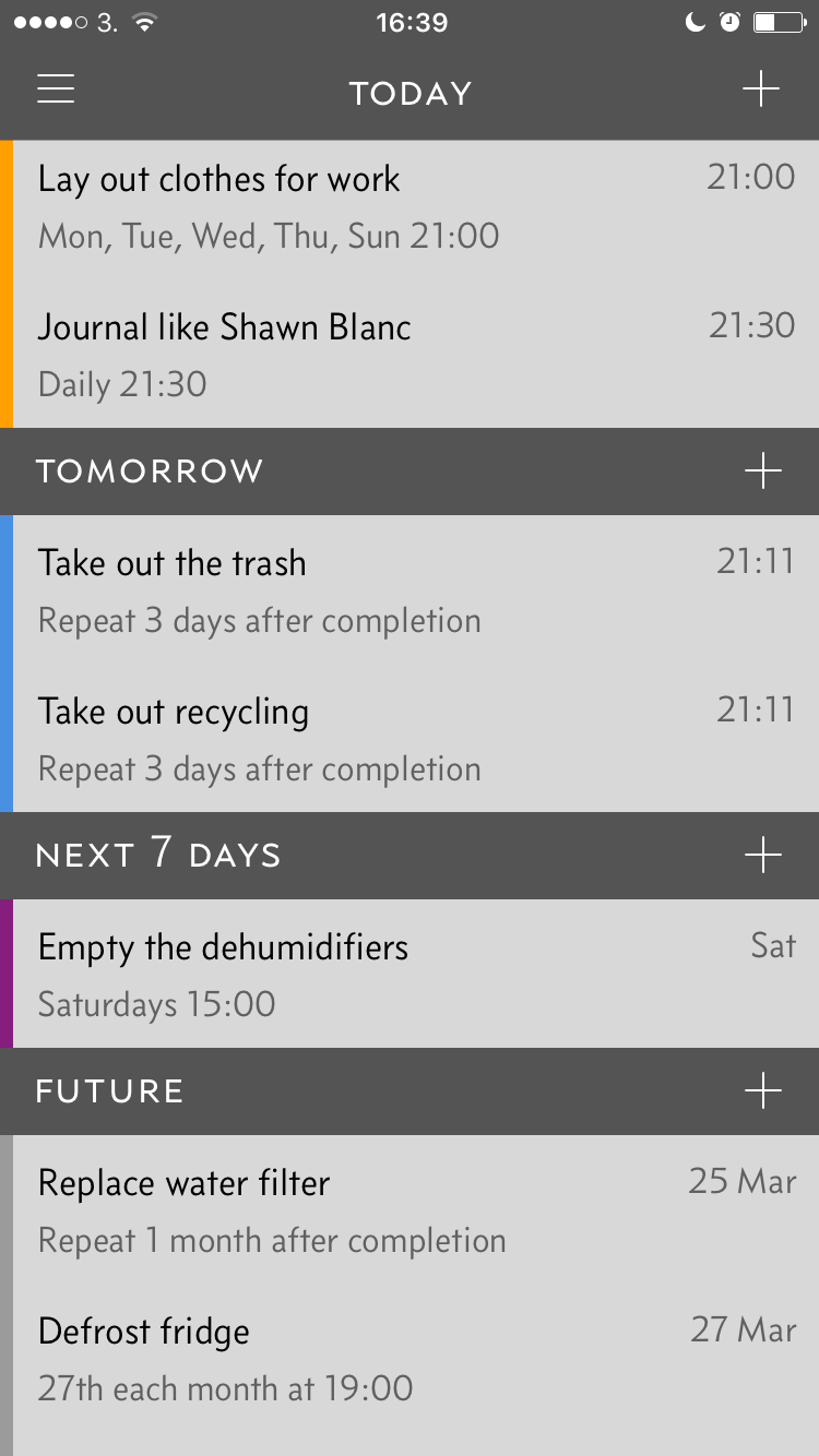 Repeating tasks in  Due