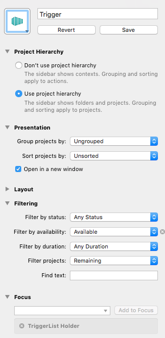 Settings for the Trigger List perspective