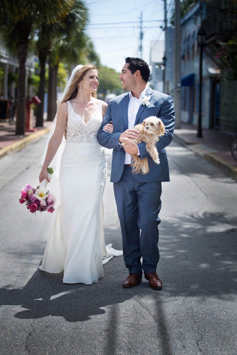 Bride and Groom walk down Petronia St in Bahama Village Key West