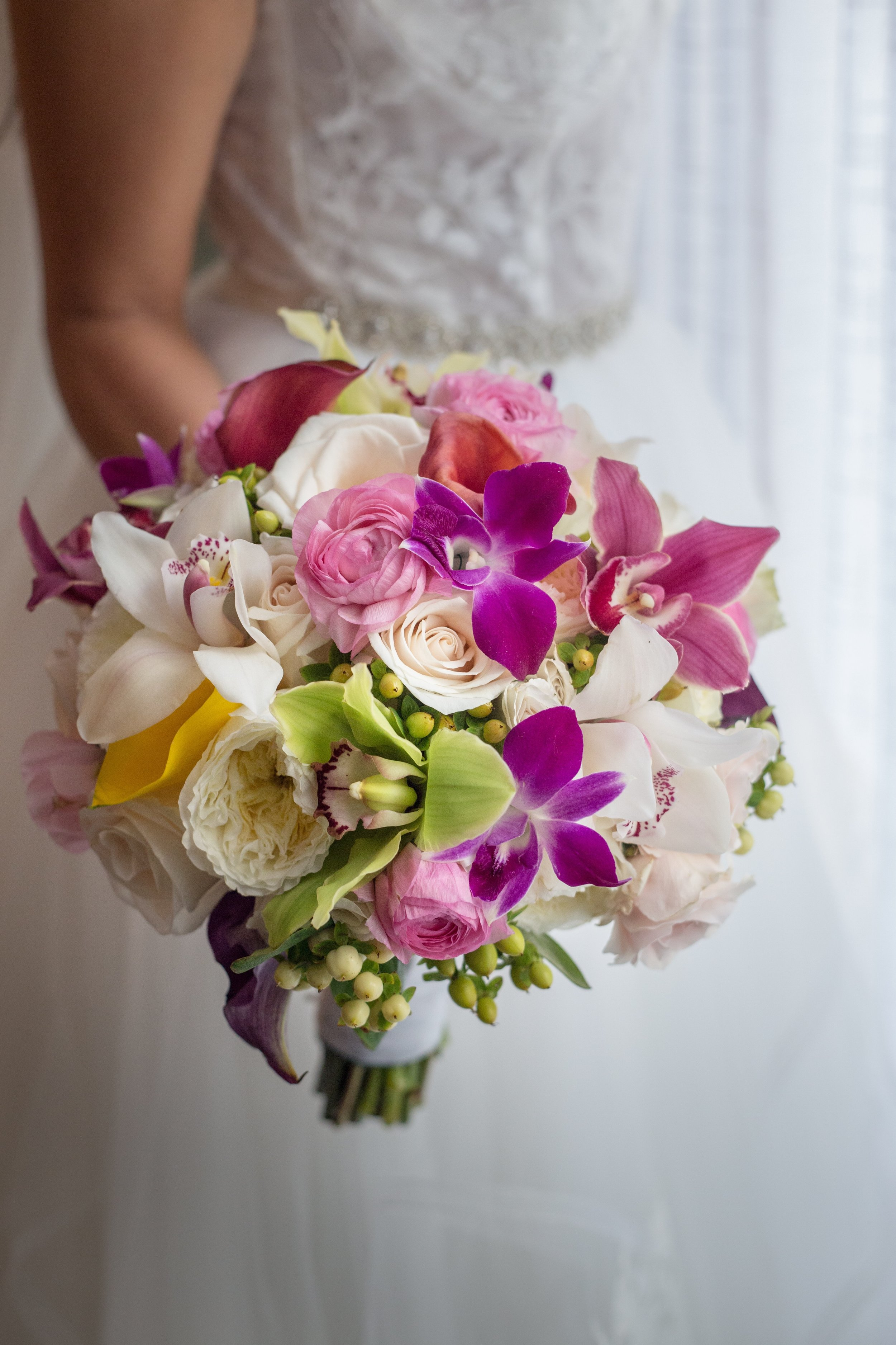 Key West wedding bouquet with orchids and peonies by Karro Events