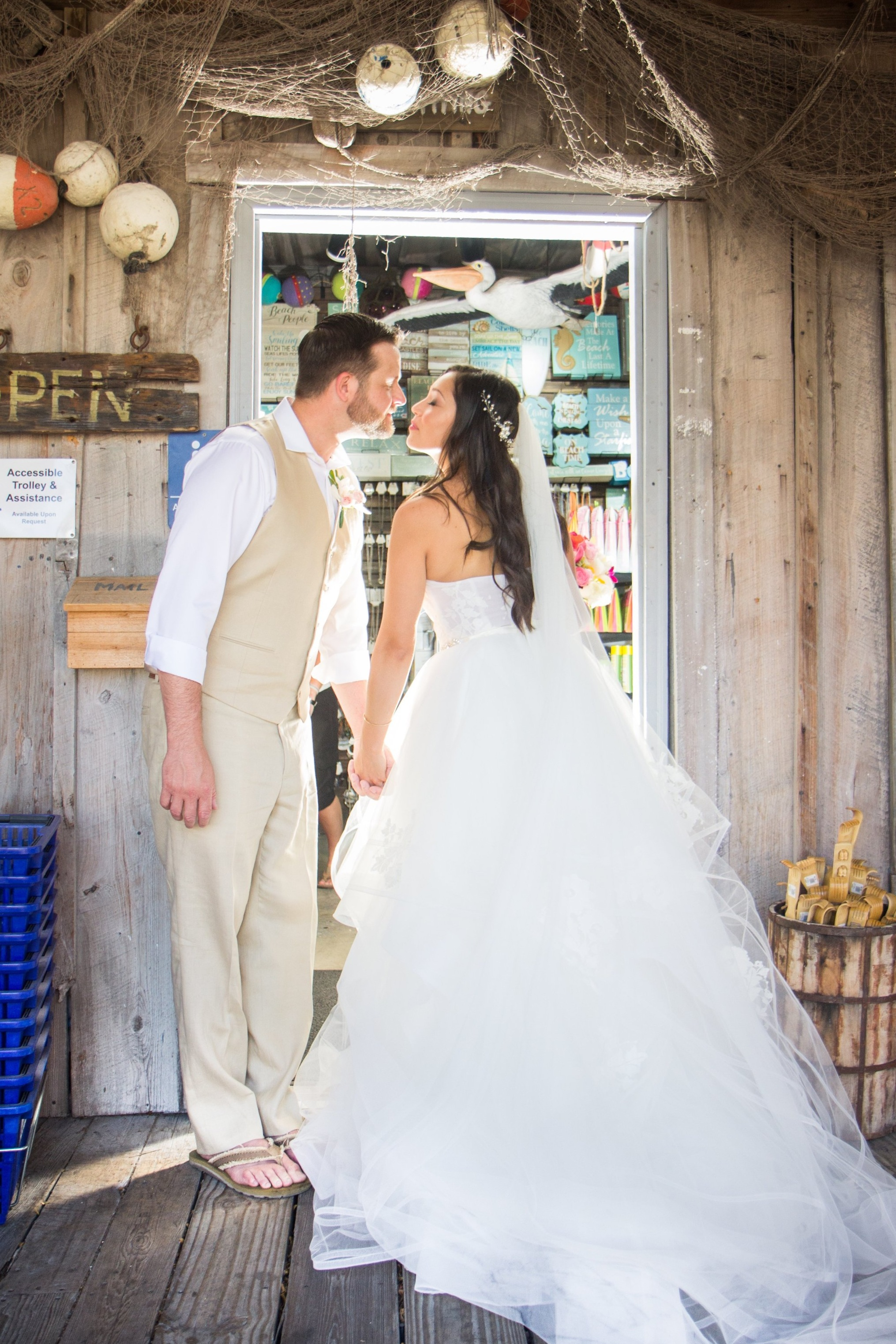 Kissing in the doorway at Macs Sea Garden in Key West