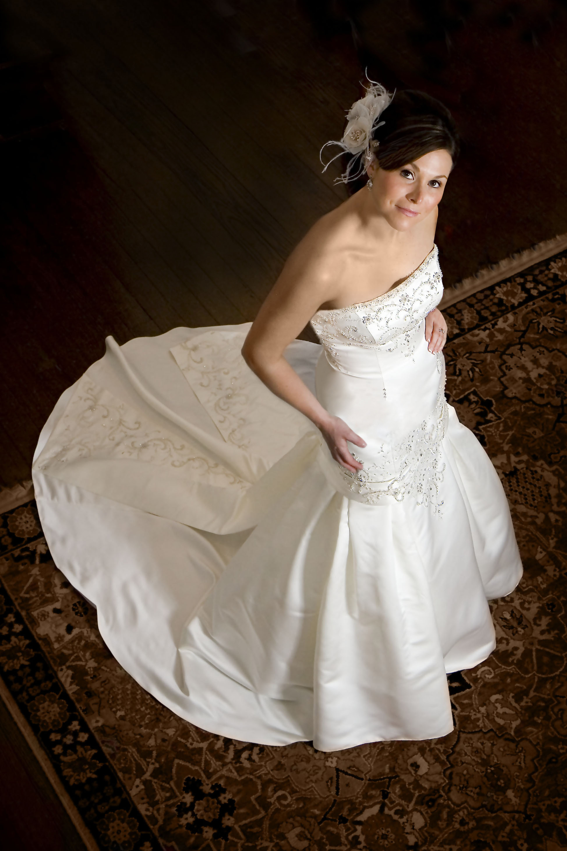 Classic Bridal Portrait pose with slightly unique overhead angle. Taken at the Governors Club Mansion in Nashville, Tennessee. ©Karrie Porter