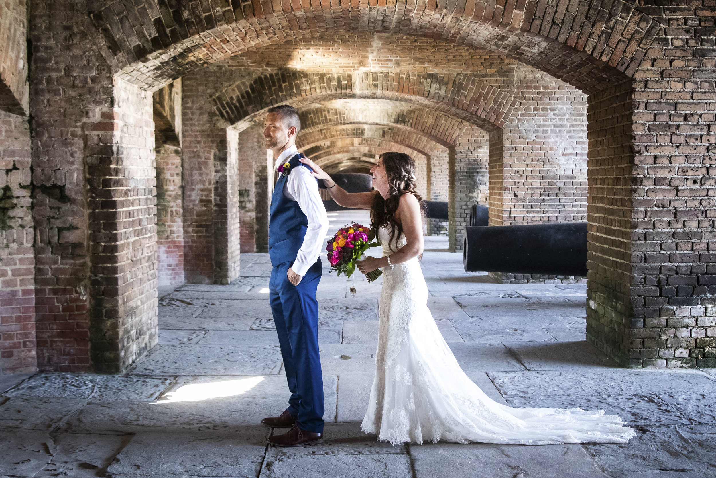 First Look during Key West wedding at Fort Zach