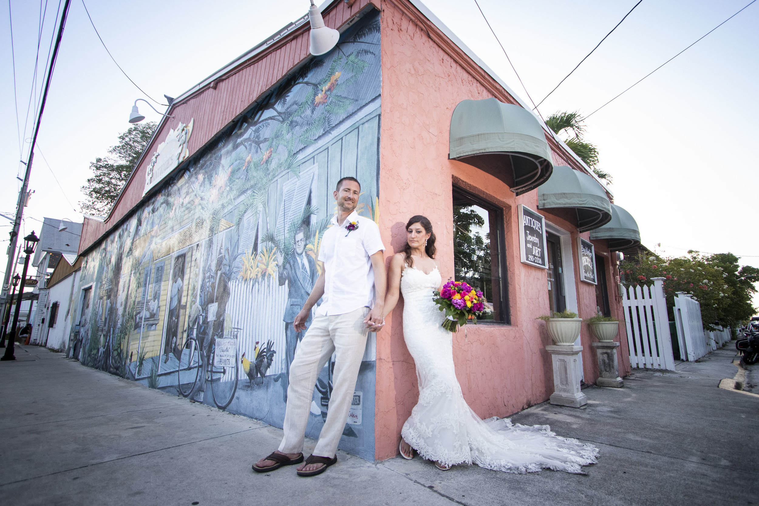 Around Key West photos with a recently married bride and groom