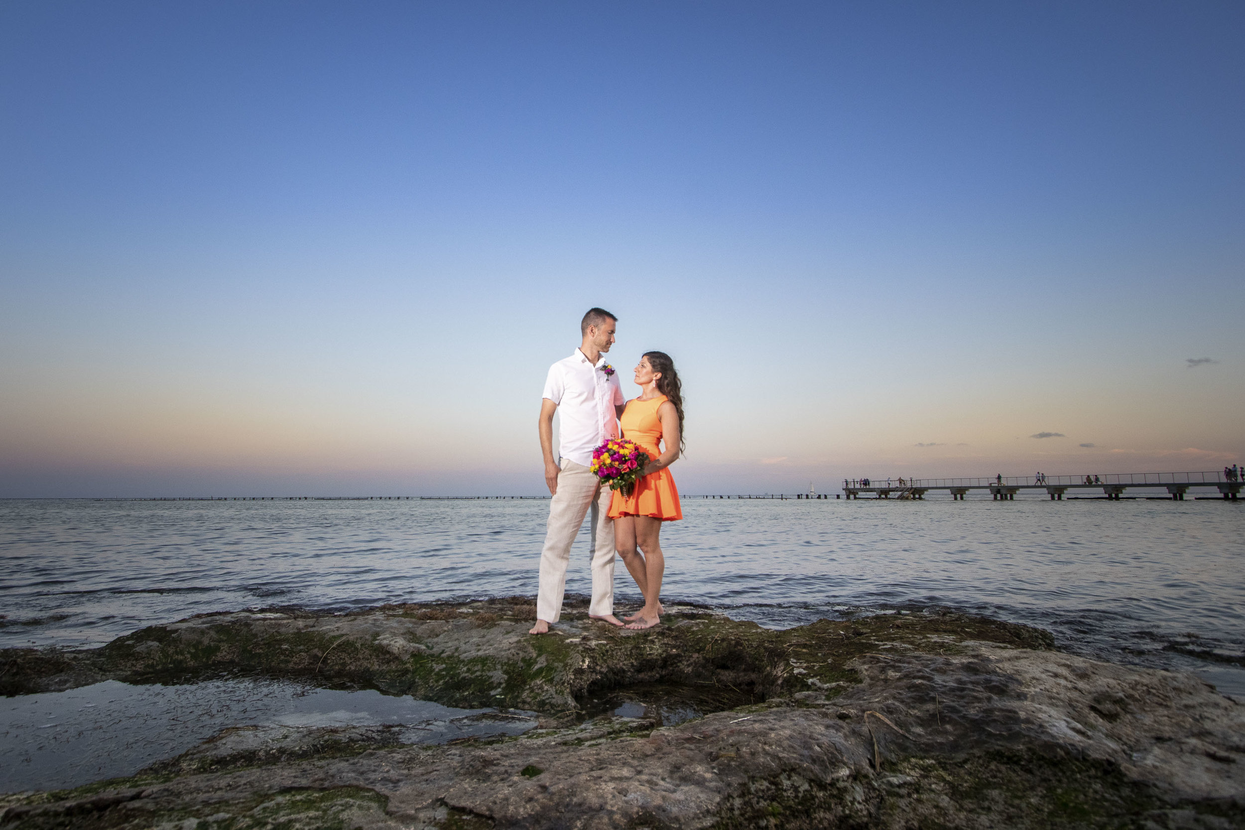 Couple enjoying Key West photography at sunset at Higgs Beach