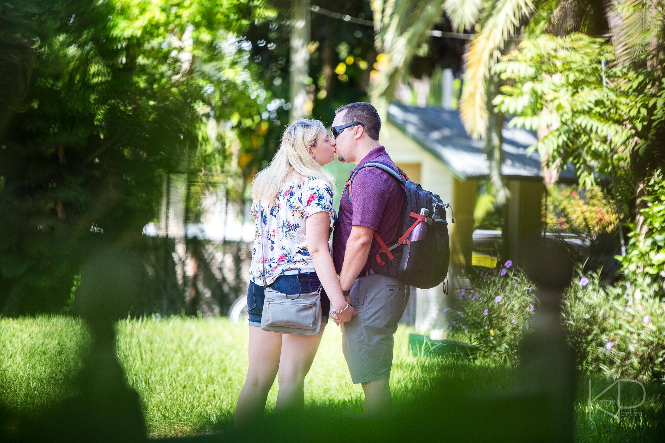 Sneaking a kiss at Hemingway Home