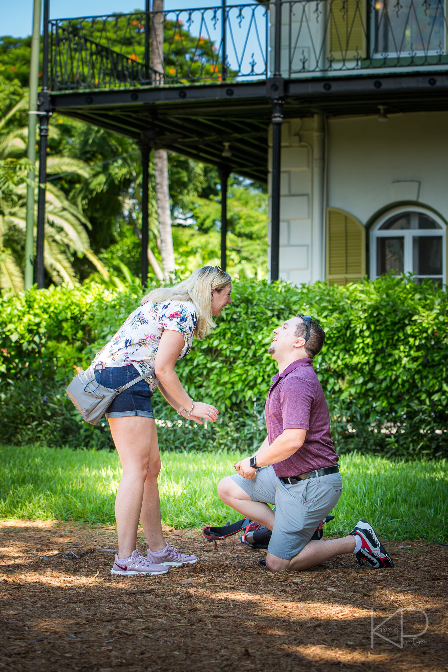 Smiling after being proposed to