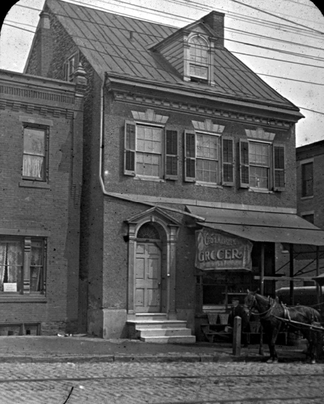 Exterior view of front facade of 5011 Main St  in Old Germantown  Circa 1910