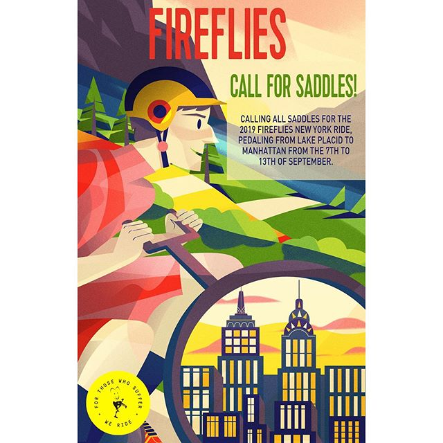 Mark Fireflies NY race in your calendar,happening in September! Had so much fun to design this year for the awesome sponsors at Framestore and The Mill NYC! To be this year saddles please sign up to firefliesnyc.com! 🚲 . . . . #bike#illustration#illo#design#mograph#digitalart#illustration_daily#posterdesign#vector#creative#vectorart#nyc