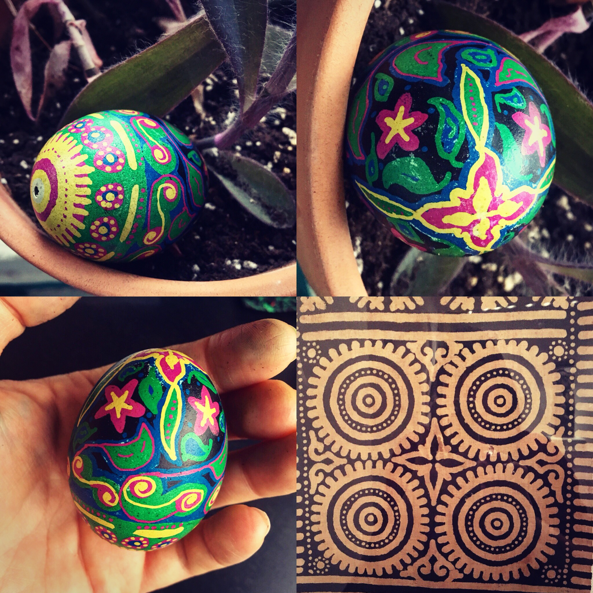 Traditional pysanky technique with motifs inspired by Indonesian ceremonial textiles, used in rituals marking times of transition.
