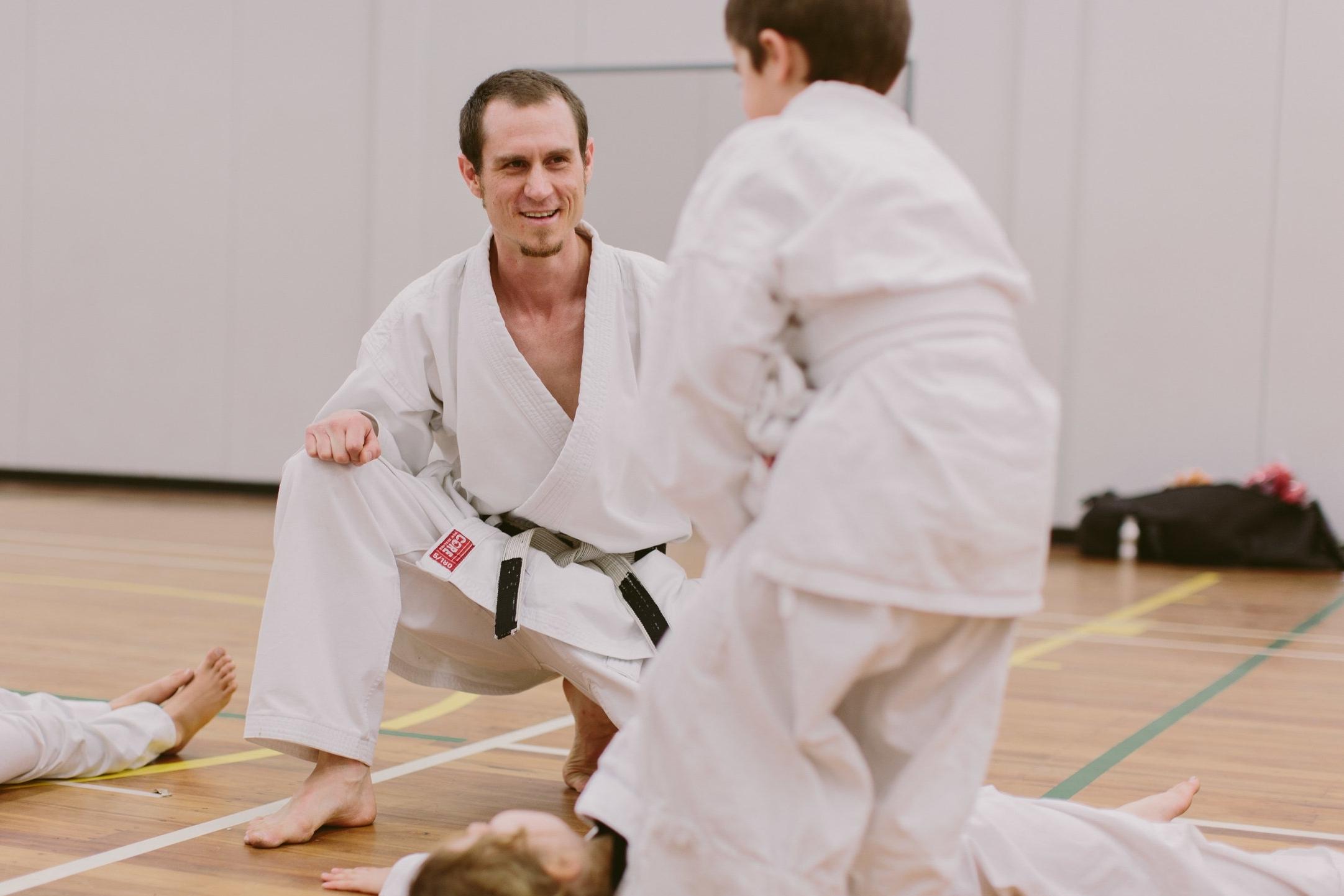 Dan Jakes teaching Karate in Christchurch