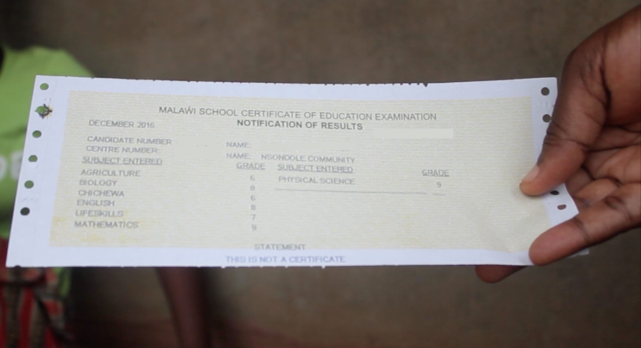 An example of a MSCE Notification of Results.