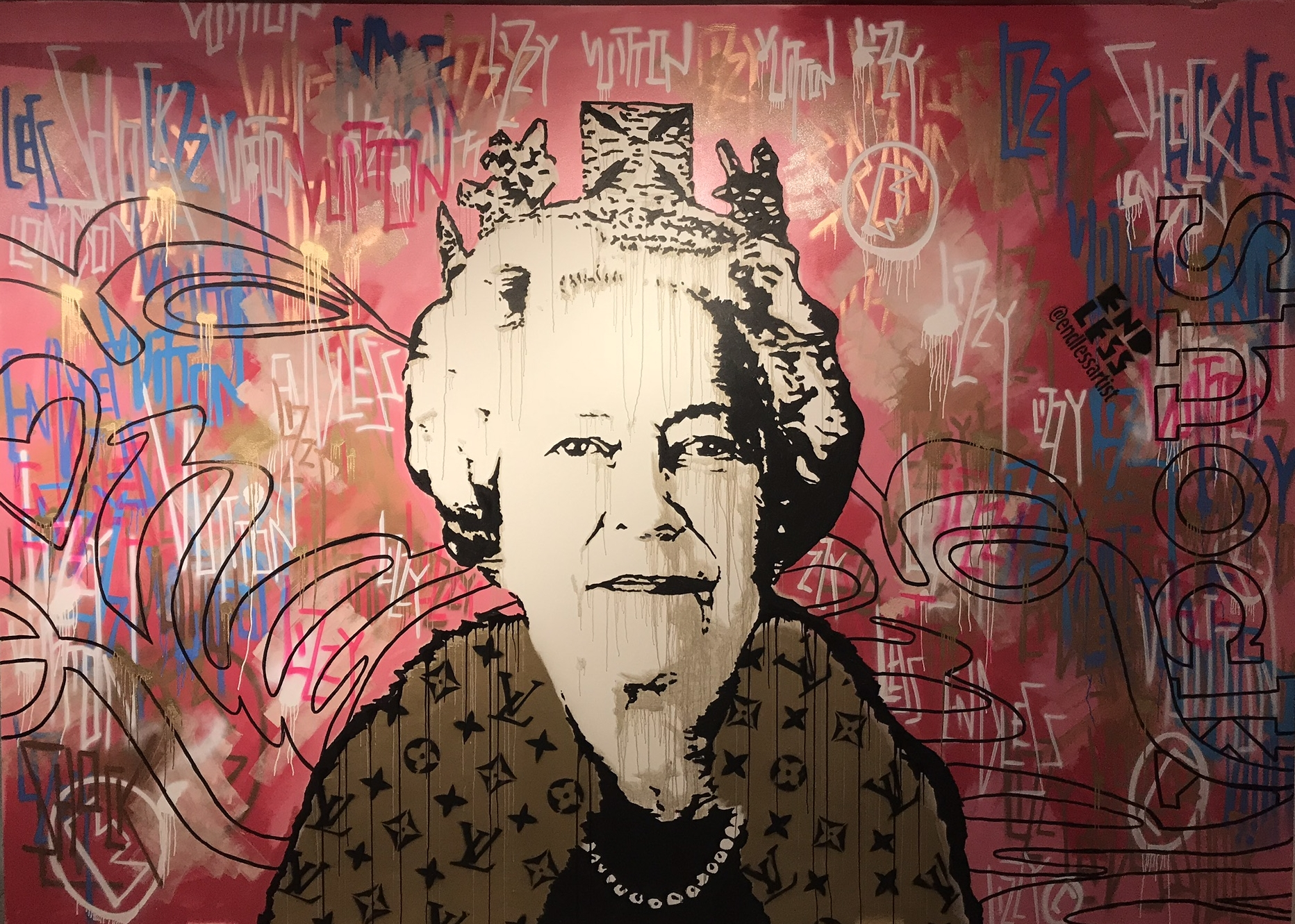 Mural by Endless x ShocK - Endless the Artist has created an exclusive wall mural inside the Chelsea Harbour Design Centre, which will feature as part of a Shock London showcase.The mural presents one of Endless's most iconic works, the Lizzy Vuitton, which was created in honour of England's longest reigning monarch, Queen Elizabeth.Lizzy is captured striking an imperious pose, draped in a luxurious fur collar embellished with the designer LV monogram. With the subject regarded somewhat as a fashion icon in her own right, Lizzy Vuitton offers a portrayal of Her Majesty that's fit for the modern age spectator.This mural is a must see. Given its scale, finish and use of vibrant drips of gold and pink paint, it is sure to bring a touch of warmth to these cold Spring days.