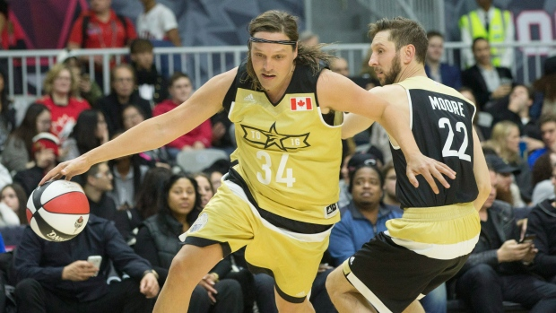 Win Butler of Arcade Fire – Named the 2016 MVP of the NBA All Star Celebrity Game – CHECK OUT THAT WINGSPAN, Y'ALL (photo credit: THE CANADIAN PRESS / Chris Young)