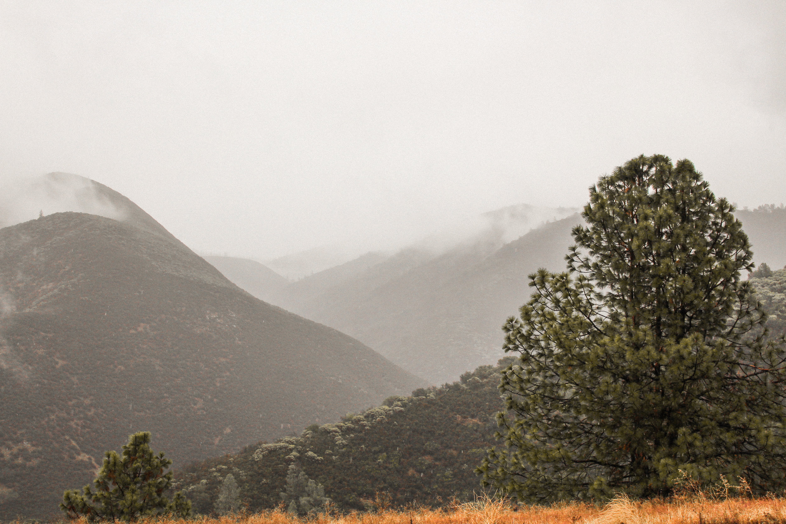 Snowy Hilltops near El Portal, California