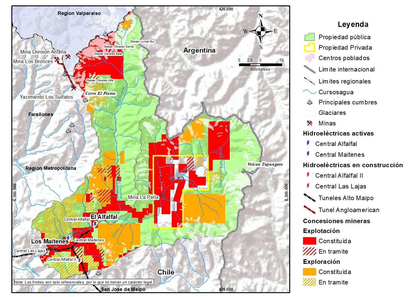 Threats (mining and hydroelectric) present and future in the Colorado-Olivares fiscal property. © Plantae Foundation
