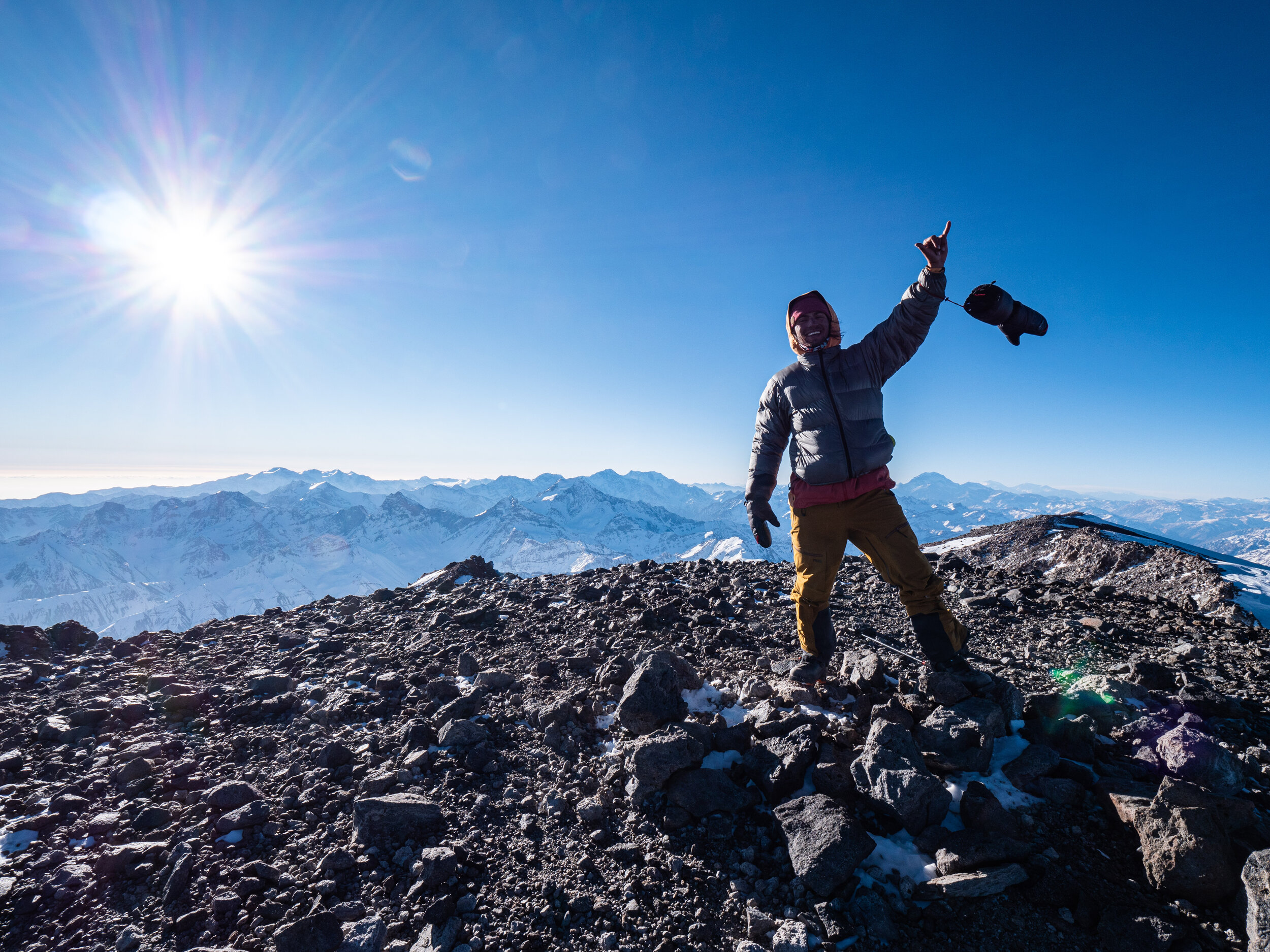 Rafael Pease at 6,570m (21,555ft) on the summit of Volcan Tupungato with views of the entire central Andes.