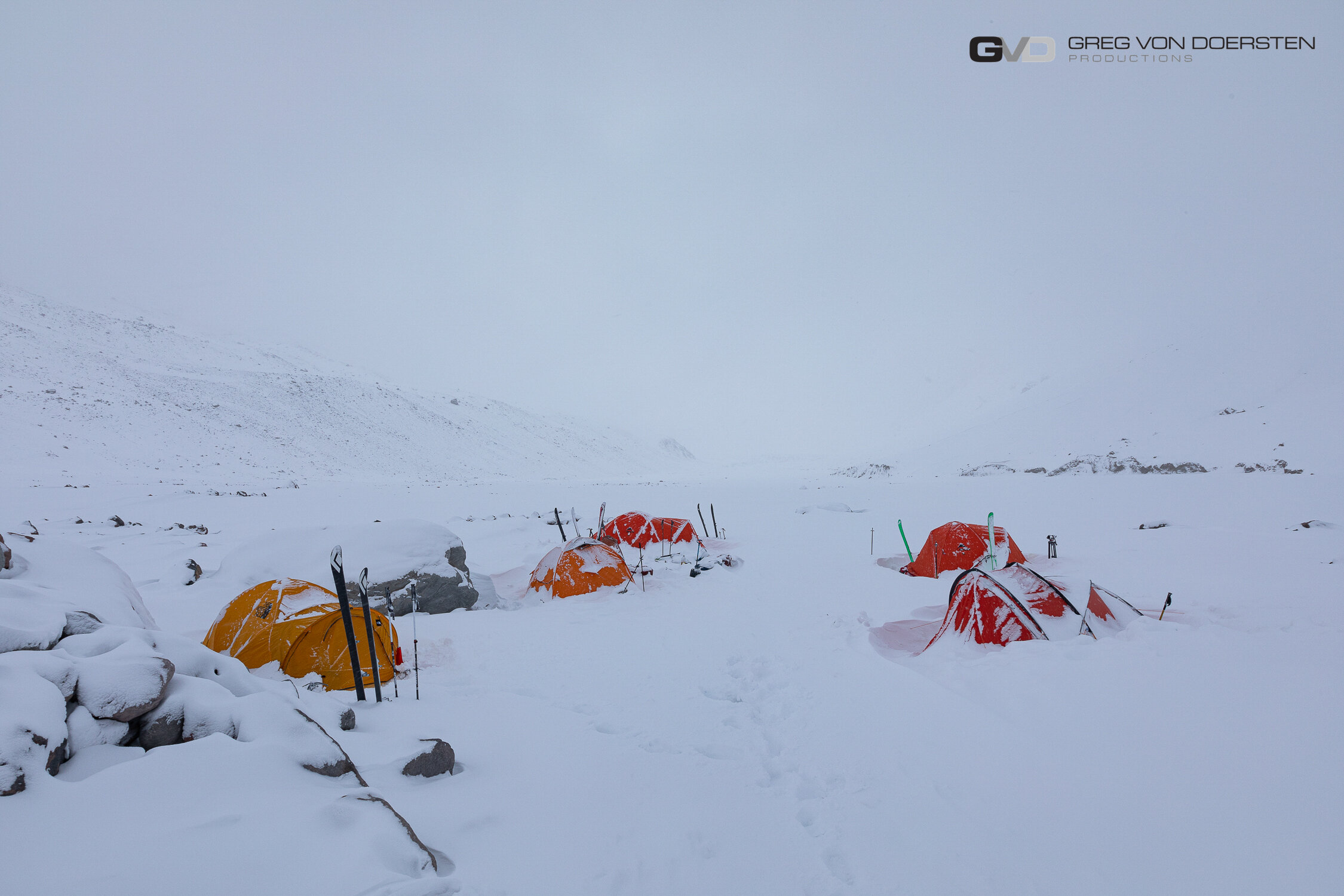 Camp 3 during a storm where the crew spent 4 days with poor visibility which made it difficult to travel.
