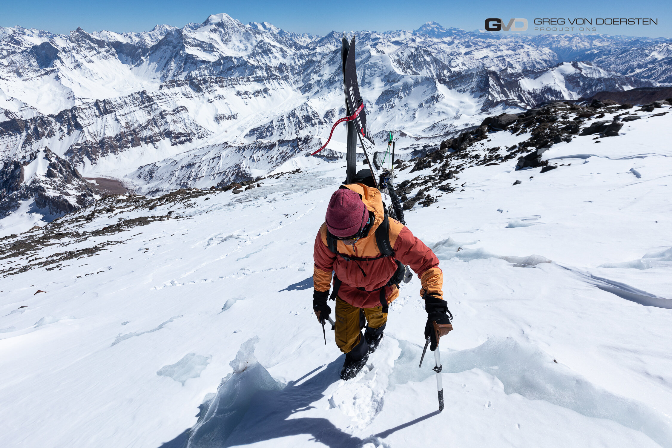 Rafael Pease above 6,100meters (20,000ft). Where you can see Aconcagua in the distance to the subject.