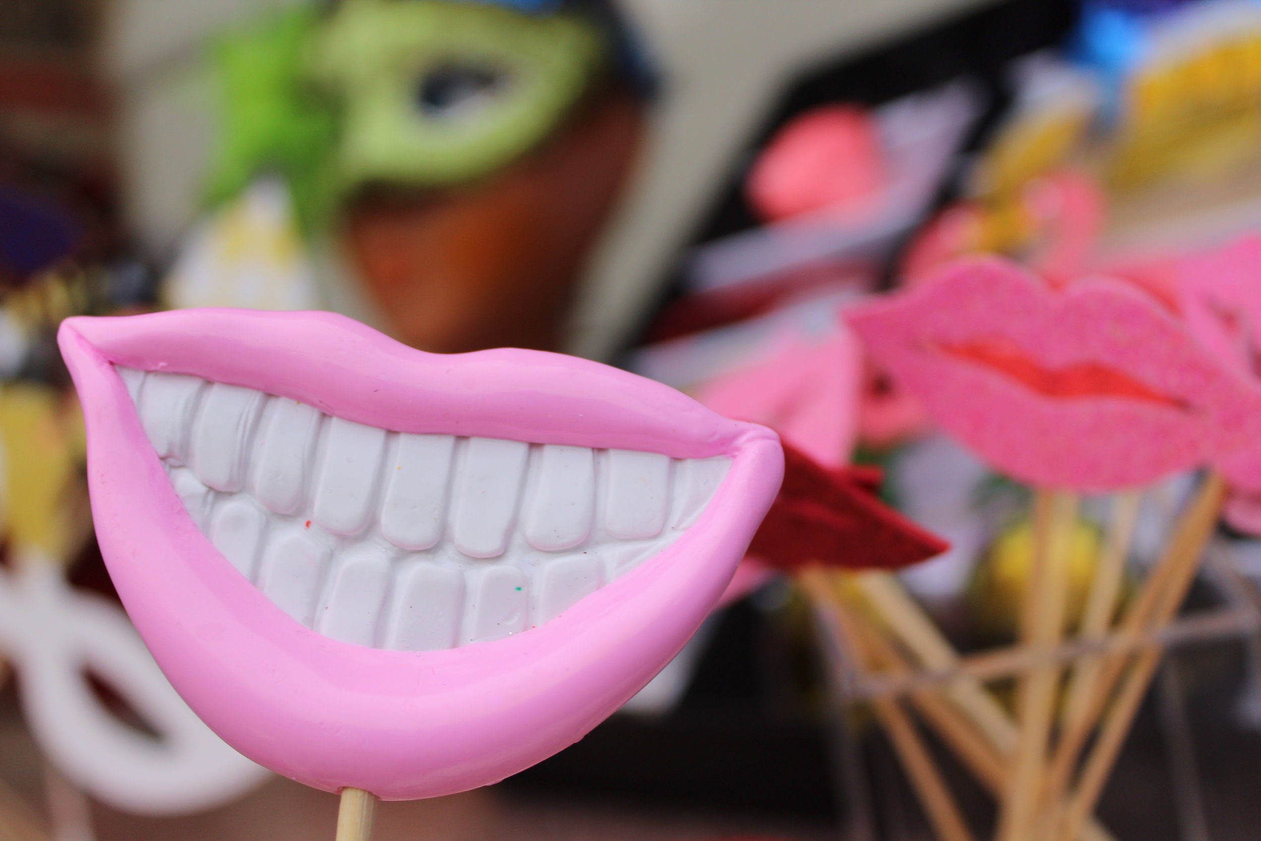 Get lippy! - Take a look at our mad props, choose from a wide range of masks, wigs, hats and things on sticks! Which one is your fave? Ours is the creepy rubber cat!